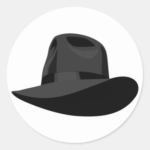Black Fedora narrow ribbon Round Sticker
