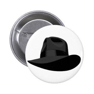 Black Fedora wide ribbon Pinback Button