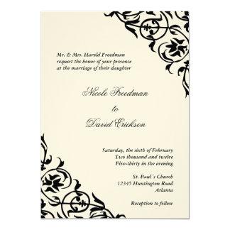 Black felt corner scroll script elegant wedding 5x7 paper invitation card