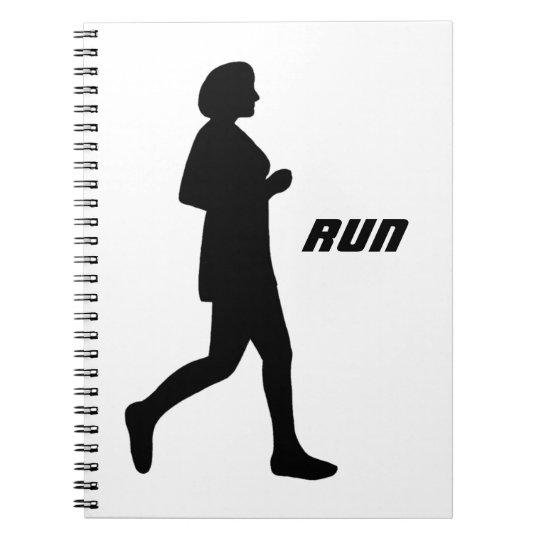 Black Female Silhouette Run Notebook