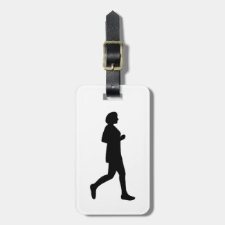 Black Female Silhouette Runner Luggage Tag