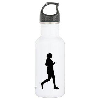 Black Female Silhouette Runner Water Bottle