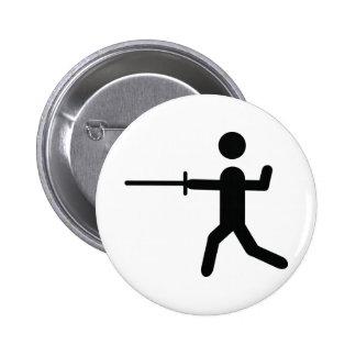 black fencing symbol logo pinback button