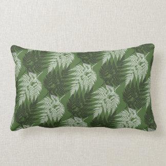 Black Fern White Fern on Green Pattern Lumbar Pillow