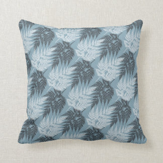 Black Fern White Fern Pattern on Bali Hai Blue Throw Pillow