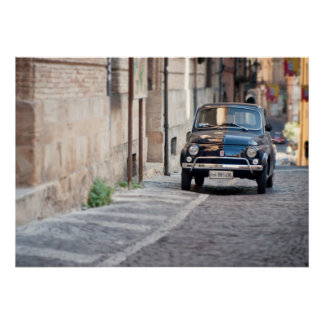 Black Fiat 500, Cinquecento, in Italy Poster