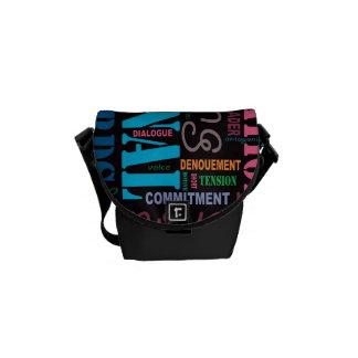 Black Fiction Writer's Word Art Handbag Courier Bags