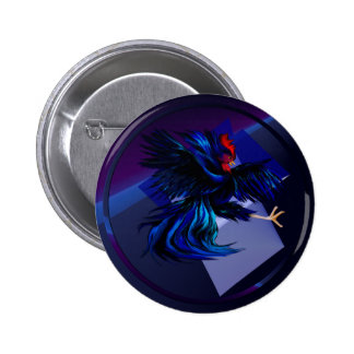 Black Fighting Rooster Button