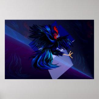 Black Fighting Rooster Print