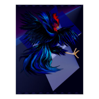Black Fighting Rooster Print
