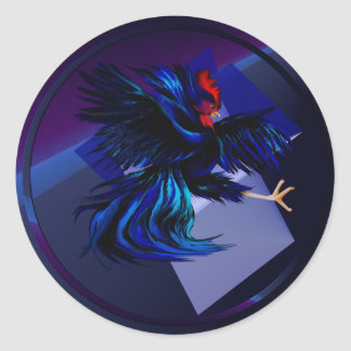 Black Fighting Rooster Sticker