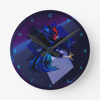 Black Fighting Rooster Wall Clock