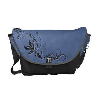 Black Filigree & Blue Courier Bags