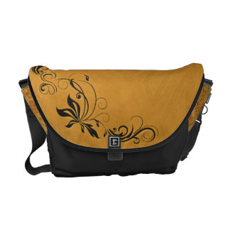Black Filigree & Gold Messenger Bags