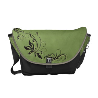 Black Filigree & Green Messenger Bag