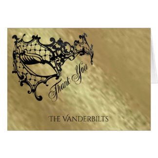 Black Filigree Mask on Gold Thank You Card