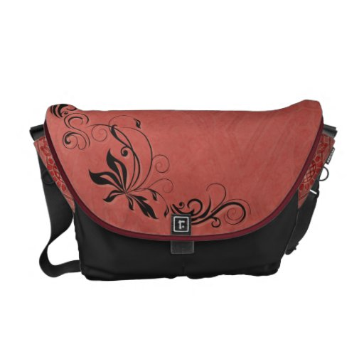 Black Filigree & Salmon Pink Courier Bags