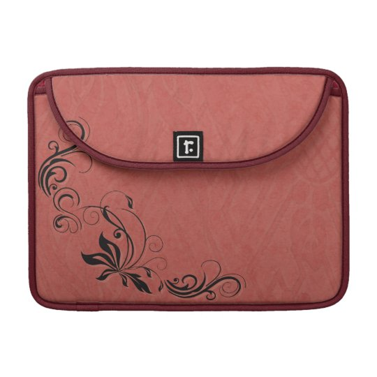 Black Filigree & Salmon Pink Sleeve For MacBook Pro
