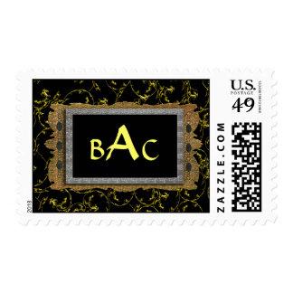 black filigree triple monogram stamp