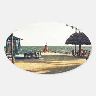 Black Fin Resort Oval Sticker