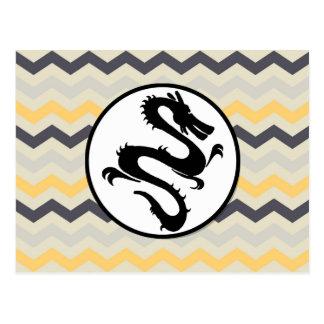 Black Fire Dragon on Gray Yellow Chevron Stripe Postcard