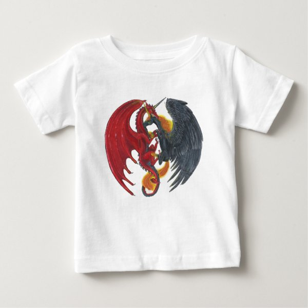 Black Fire Unicorn and Red Dragon Baby T-Shirt