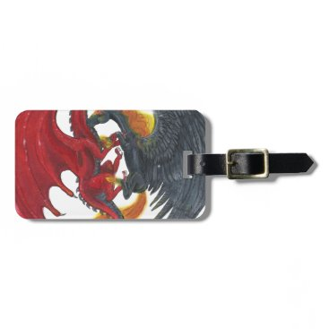 Halloween Themed Black Fire Unicorn and Red Dragon Bag Tag