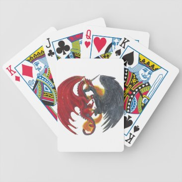 Halloween Themed Black Fire Unicorn and Red Dragon Bicycle Playing Cards