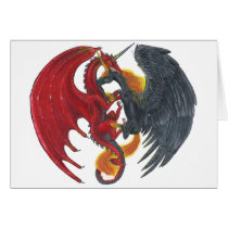 Black Fire Unicorn and Red Dragon Card
