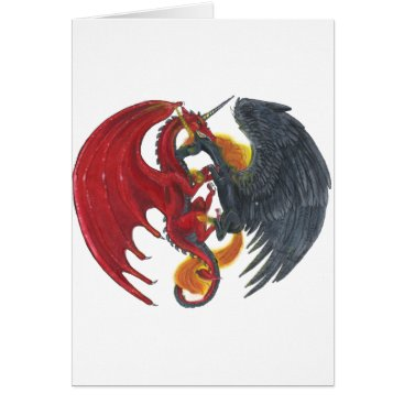 Halloween Themed Black Fire Unicorn and Red Dragon Card