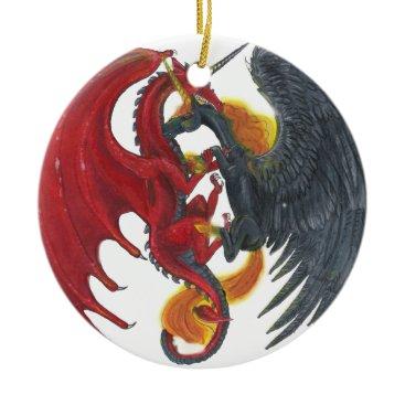 Halloween Themed Black Fire Unicorn and Red Dragon Ceramic Ornament