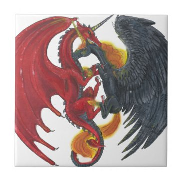 Halloween Themed Black Fire Unicorn and Red Dragon Ceramic Tile