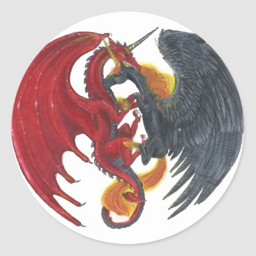 Halloween Themed Black Fire Unicorn and Red Dragon Classic Round Sticker