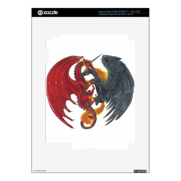 Halloween Themed Black Fire Unicorn and Red Dragon Decals For iPad 3