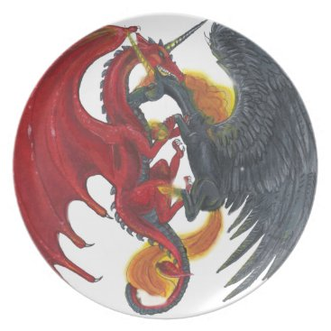 Halloween Themed Black Fire Unicorn and Red Dragon Dinner Plate