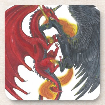 Halloween Themed Black Fire Unicorn and Red Dragon Drink Coaster