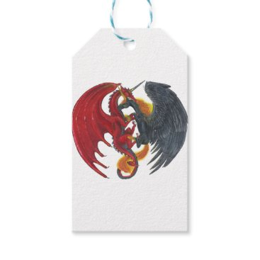 Halloween Themed Black Fire Unicorn and Red Dragon Gift Tags