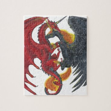 Halloween Themed Black Fire Unicorn and Red Dragon Jigsaw Puzzle