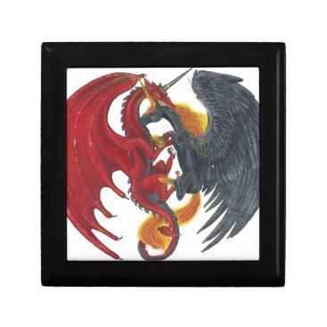 Halloween Themed Black Fire Unicorn and Red Dragon Keepsake Box