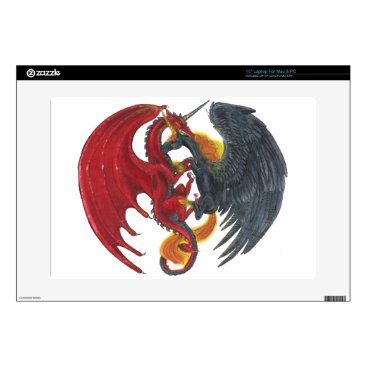 Halloween Themed Black Fire Unicorn and Red Dragon Laptop Decals