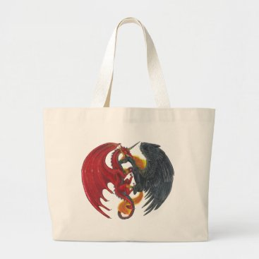 Halloween Themed Black Fire Unicorn and Red Dragon Large Tote Bag