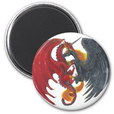 Halloween Themed Black Fire Unicorn and Red Dragon Magnet