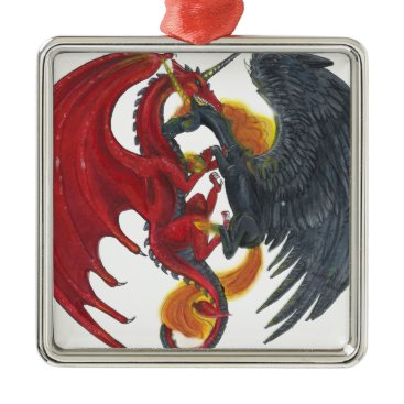 Halloween Themed Black Fire Unicorn and Red Dragon Metal Ornament