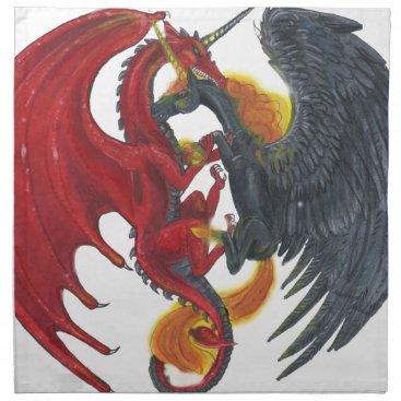 Halloween Themed Black Fire Unicorn and Red Dragon Napkin
