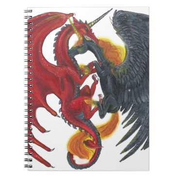 Halloween Themed Black Fire Unicorn and Red Dragon Notebook