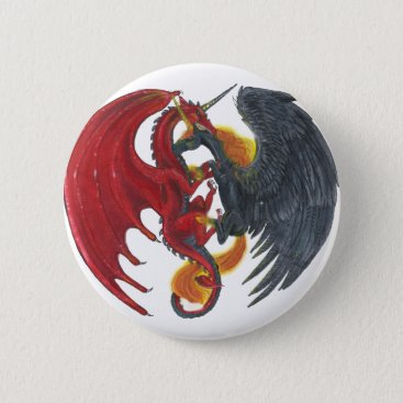 Halloween Themed Black Fire Unicorn and Red Dragon Pinback Button