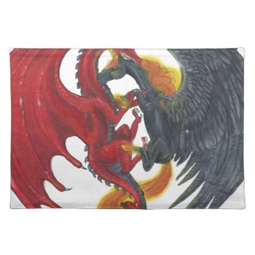 Halloween Themed Black Fire Unicorn and Red Dragon Placemat