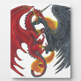 Black Fire Unicorn and Red Dragon Plaque