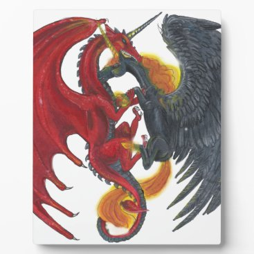 Halloween Themed Black Fire Unicorn and Red Dragon Plaque