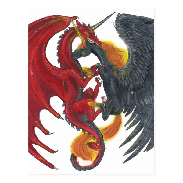 Black Fire Unicorn and Red Dragon Postcard